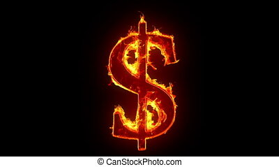 Burning dollar sign