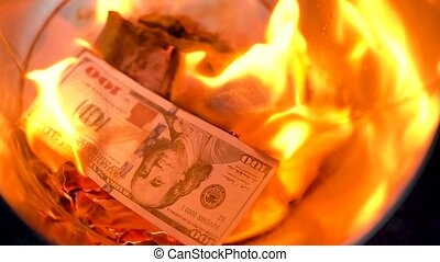 Burning dollars in the trash can close-up. Slow motion -...