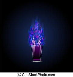 Burning drink . Alcohol cocktail shot