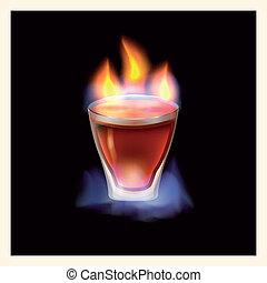 Burning drink - vector illustration