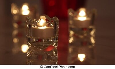 Burning e-candle in a crystal candle holder.