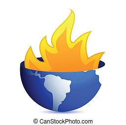 burning earth globe illustration