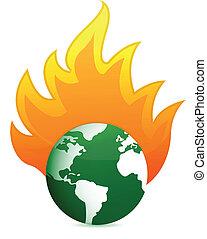 burning eco earth globe