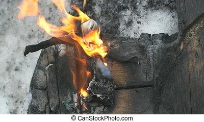 Burning effigy of carnival during carnival - Burning effigy...