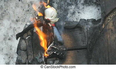 Burning effigy of carnival during carnival