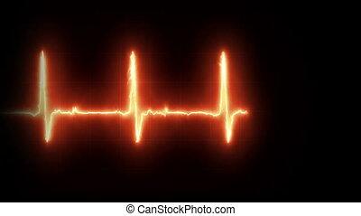 Burning EKG Heart Line Loop Footage