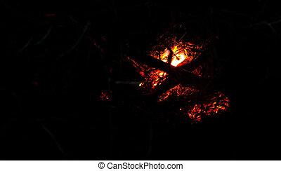 Burning Ember Abstract - Burning ember abstract at night...