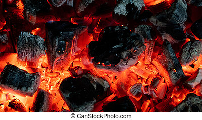 Burning embers close up - Beautiful burning glowing embers...