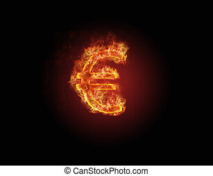Burning Euro currency symbol
