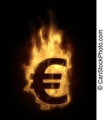 Burning EURO in hot fire