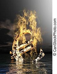Burning Euro Sign