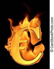 Burning Euro Symbol- 3D illustration Animated Cartoon Fire