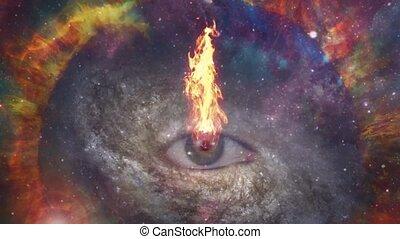 Burning eye in vivid universe