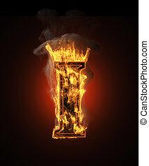 burning figure with smoke