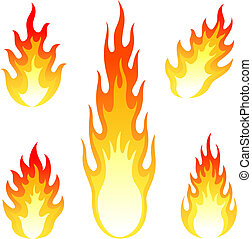 Burning fire and flame vector set isolated on white