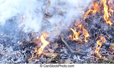 burning fire and smoke