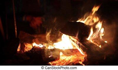 Burning fire at night, campfire bonfire. 1920x1080. hd