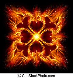 Burning fire cross%u0421%u040B Illustration on black ...