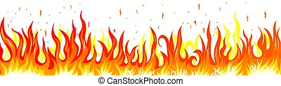 Burning fire. Flame on a white background