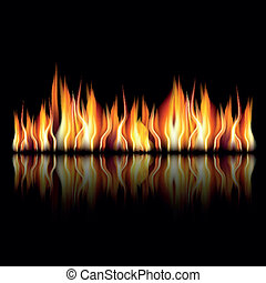 illustration of burning fire flame on black background, Zip includes 300 dpi JPG, Illustrator CS, EPS10. Vector with transparency.