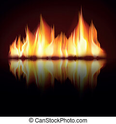 Burning fire flame on black background, Zip includes 300 dpi...