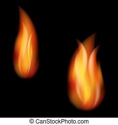Burning fire flames on black background