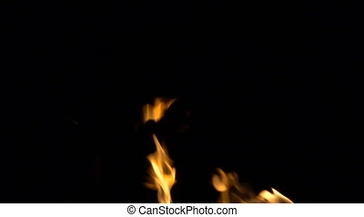 Burning fire, footage on black background