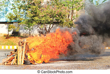 Burning fire for fire fighting training.