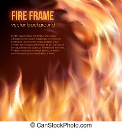 Burning fire frame. Vector Fiery Background