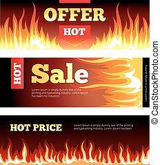 Burning fire hot sale horizontal banners vector set
