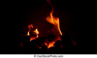 Burning fire in a home fireplace