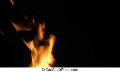 Burning fire on black background, 4k