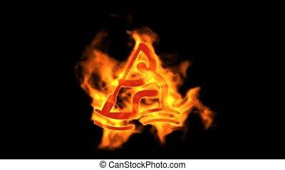 burning fire rowing athlete silhoue