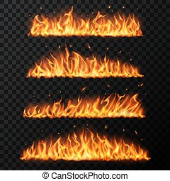 Burning fire tongues on transparent background. Realistic vector flame with particles, flying sparks. Blaze effect, glowing shining flare borders with glow embers, isolated 3d design elements set