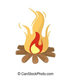 Burning fire vector illustration isolated on white background.