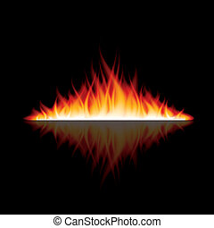 Burning fire with reflection on black vector