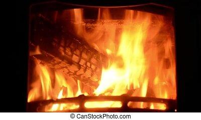 Burning fireplace. Fire close up