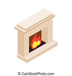 Burning fireplace icon, isometric 3d style