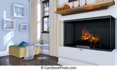 Burning fireplace in modern minimalist living room - Bright...