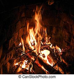 Burning fireplace in the dark