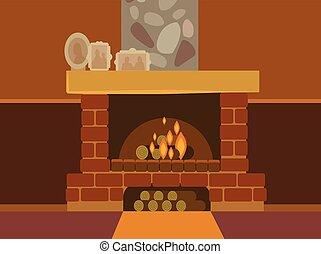 Burning fireplace. Vector flat cartoon illustration