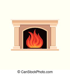 Burning fireplace vector Illustration i on a white background