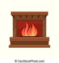 Burning fireplace vector Illustration on a white background