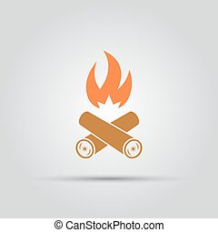 Burning firewood isolated vector colored icon