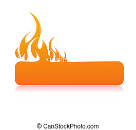 Burning flame banner with space of your text, illustration