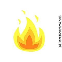 Burning Flame Tongues Vector Isolated Icon of Fire