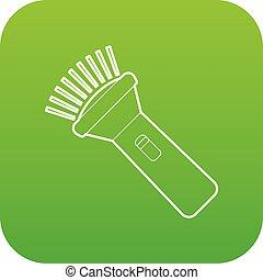 Burning flashlight icon green vector