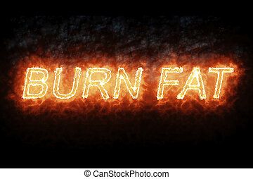 burning font burn fat fire word text with flame and smoke on black background, concept of medical diet nutrition healthy life