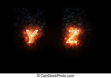 burning font y, z, fire word text with flame and smoke on black background, concept of fire heat alphabet decoration