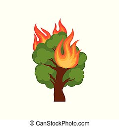 Burning forest tree vector Illustration on a white...